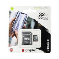 Карта памяти MicroSD 32GB Kingston Class 10 Canvas Select Plus A1 (100 Mb/s) + SD адаптер