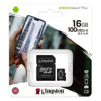 Карта памяти MicroSD Kingston 16Gb Class 10 Canvas Select Plus UHS-I U1 A1 (100Mb/s) + SD адаптер
